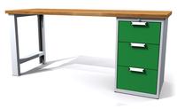 Dílenský stůl - šířka 2000 mm, 1 kontejner: 3 zásuvky