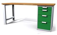 Dílenský stůl - šířka 2000 mm, 1 kontejner: 4 zásuvky