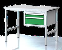 Dílenský stůl - stavitelná výška, šířka 1200 mm, kontejner 2 zásuvky