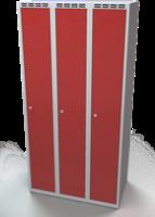 Odolná šatní skříňka Aldur 1 - dvouplášťové dveře, šířka / počet oddělení: 300 mm / 3