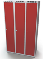 Odolná šatní skříňka Aldur 1 - dvouplášťové dveře, šířka / počet oddělení: 350 mm / 3