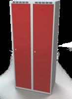 Odolná šatní skříňka Aldur 1 - dvouplášťové dveře, šířka / počet oddělení: 400 mm / 2