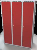 Odolná šatní skříňka Aldur 1 - dvouplášťové dveře, šířka / počet oddělení: 400 mm / 3
