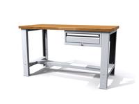 Dílenský stůl - šířka 1500 mm, závěsný kontejner, stavitelné nohy