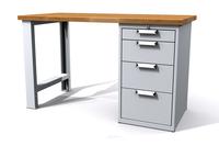 Dílenský stůl - šířka 1200 mm, kontejner 4 zásuvky, pevné nohy
