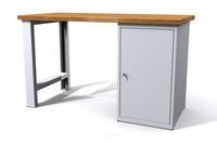 Dílenský stůl - šířka 1500 mm, kontejner s dvířky, pevné nohy