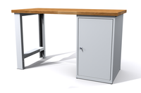 Dílenský stůl - šířka 1500 mm, 1 kontejner: 1 dvířka