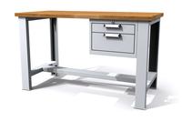 Dílenský stůl základní - šířka 1500 mm, kontejner 2 zásuvky, stavitelné nohy