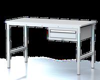 Dílenský stůl - stavitelná výška, šířka 1500 mm, kontejner 1 zásuvka