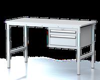 Dílenský stůl - stavitelná výška, šířka 1500 mm, kontejner 2 zásuvky
