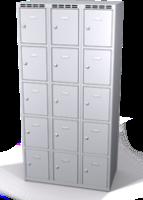 Šatní skříňka s boxy Alsin - jednoplášťové dveře, 15 boxů (3 oddělení)