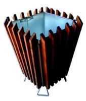 Odpadkový koš - ocel-dřevo MM700177