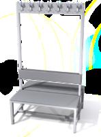 Oboustranná lavice s věšáky - lamino deska SLO 100 V S