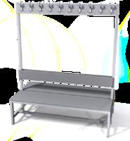 Oboustranná lavice s věšáky - lamino deska SLO 150 V S