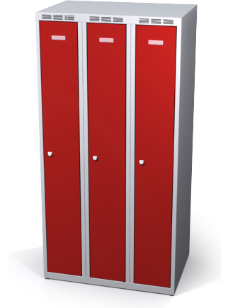 Zesílené šatní skříňky snížené s dvouplášťovými dveřmi